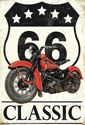 Route 66 Classic Motorcycle Chopper Bike Blechschild Metallschild Schild gewölbt Metal Tin Sign 20 x 30 cm