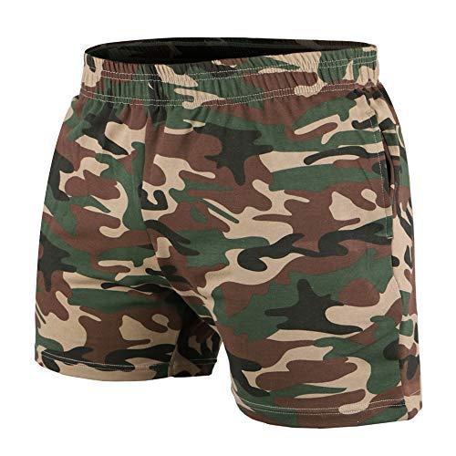 Musclealive Hommes La Musculation Gym Faire des Exercices Short Terry Cotton,5 Inseam Camouflage,Medium