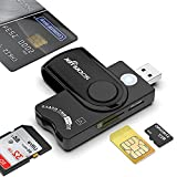 Rocketek Smart Card + SD + TF + SIM Card 4 in 1 Multi-Function Card Reader, USB A Military CAC Memory Card Reader, for Micro SD/Micro SDHC/Micro SDXC, SD/SDHC/SDXC, MMC RS&4.0