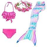 Elfin Girl Swimsuit Mermaid Swimming Bikini Suit Birthday Gift 3-12 Years Old (no Monofin), Dh43+wjf48+b06, 9-10 Years