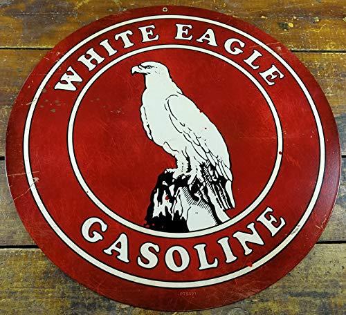 White Eagle Gasoline Red Black White Bird Logo Gas Station Round ADV Sign Metal Sign Plaque 12x12 Inch