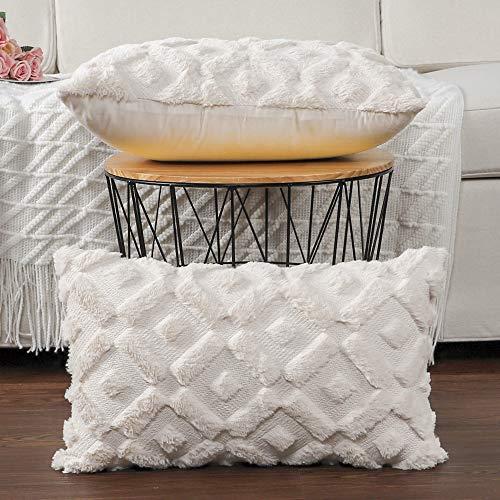 Madizz 2er Set Sanft Plüsch Kurze Wolle Samt Dekorativ Zierkissenbezüge Luxus Stil Kissenbezug für Sofa für Schlafzimmer Beige 30x50 cm Rechteckig