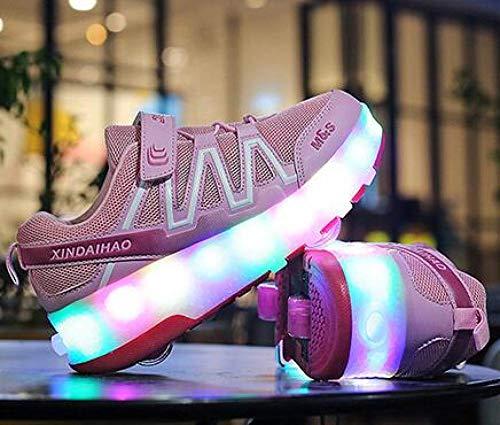 YURU Mode LED Heelies Schuhe Breathable Kinder-Zwei-Rad-Schuhe Abnehmbare Kinder Single Wheel Roller Skates,Black-EU30