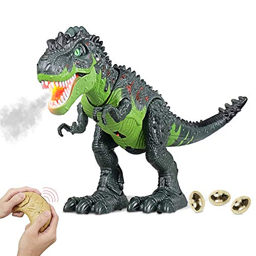 Remote Control Dinosaur Toy for Kid, RC Tyrannosaurus Intelligent Interactive Smart Toy Electronic Remote Controller Robot Realistic Walking & Roaring, LED Eyes with Spraying Function