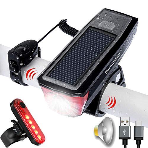 Super Brillante Luz Bicicleta Conjunto, La EnergíA Solar LED/USB Recargable Linterna de Frente y Parte Posterior Trasera, con El Cuerno, IPX-5 Resistente Al Agua, por Ciclo del Camino MontañA