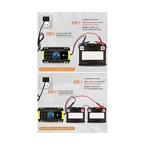 URAQT Cargador Bateria Coche 8A 12V//24V Cargador de Bateria Moto Mantenimiento Autom/ático Inteligente con M/últiples Protecciones para Coche Moto ATV RV Barco