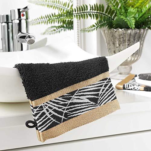 douceur d'intérieur 1800928 2 Gants de Toilette 15 x 21 cm Eponge unie Jacquard orbella Noir