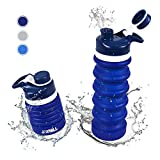 JOYHILL - Botella de Agua Plegable de Silicona de 550 ml, Botella de Agua para Deportes y Corredores, Libre de BPA, Silicona de Grado alimenticio, Ligera y portátil, Azul Marino