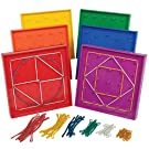 Edx Education Double-Sided Geoboard Set - in Home Learning Manipulative for Geometry and Creativity - 5 x 5 Grid/12 Pin Circular Array - Set of 6 with Rubber Bands