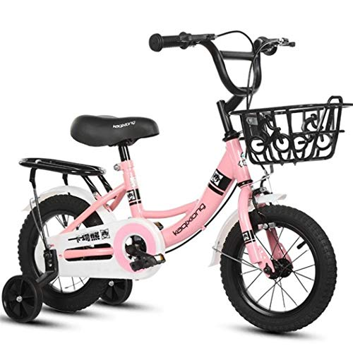"""JLFSDB Kids Bike Child's Bicycle Kids Bike, Boy Girl Scooter Bicycle 2 Wheeled Bikes for 2-11 Years, 12"""",14"""",16"""",18""""Child Bicycle with Training Wheels & Hand Brakes (Color : Pink, Size : 16inch)"""