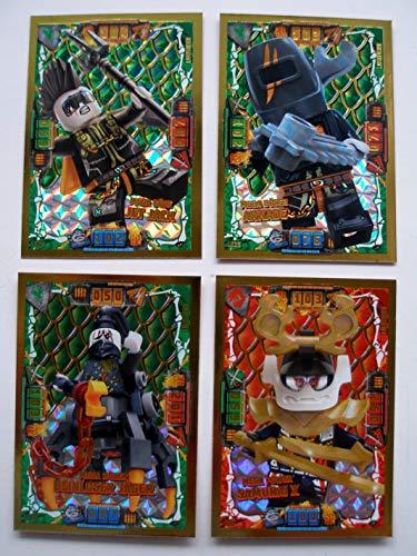 Lego Ninjago Serie 4 - 4 Limitierte Gold Karten Trading Card LE 7 Mega Power Samurai X LE 24 Mega Böser Jet Jack LE 23 Arkade LE 25 Beinloser Jäger + 1 Ninja Schutzhülle