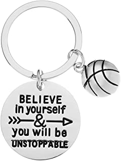 Sportybella Basketball Keychain, Basketball Player Gifts, Believe in Yourself & You Will Be Unstoppable Keychain for Men a...
