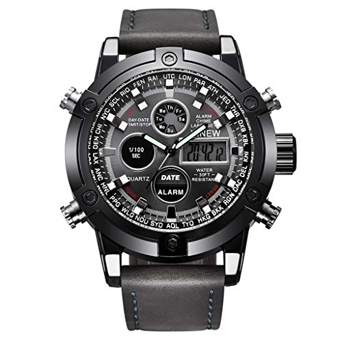 GLEMFOX heren sporthorloge alarm/kalender/chronograaf/lichtdisplay heren elektronisch horloge klassiek casual PU-polshorloge grijs