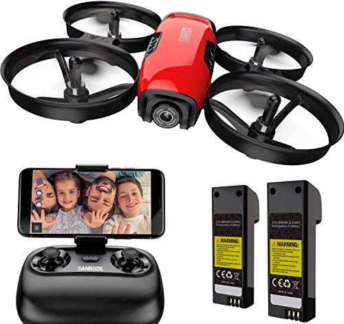 SANROCK U61W Drones for Kids with Camera, RC Quadcopter with 720P HD WiFi FPV Camera, Support Altitude Hold, Route Making, Headless Mode, One-Key Start, Emergency Stop, Great Gift for Boys Girls