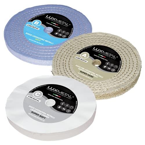 Kit de 3 discos pulidoras Lux de 200 mm de diámetro, de algodón, para prepulido, superacabado para pulir y eliminar óxido para aluminio, acero inoxidable, latón, cobre, bronce, hierro, madera plástica