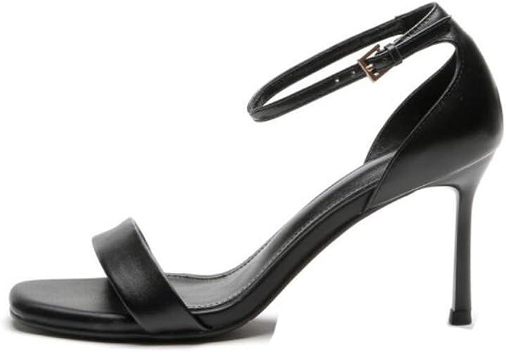 DANDANJIE Femmes Chaussures PU été Gladiateur Sandales Talon Stiletto Bout Ouvert pour Décontracté (Noir Rouge Beige)