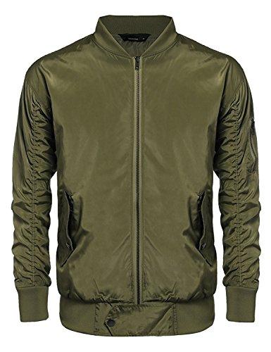 COOFANDY Men's Classic Varsity Baseball Bomber Jacket Casual Lightweight Flight Jacket Olive Green