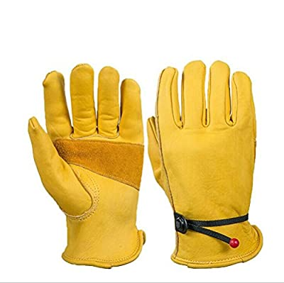 Heavy Duty Grain Cowhide Extra Wear Palm Leather Work Gloves for Women & Men Driving, Wood Cutting, Motorcycle,Woodworking, Safety and Gardening, Hunting - With Ball and Tape Wrist Closure
