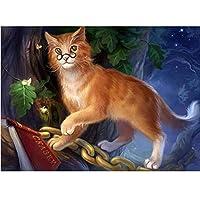 Yiyaiフルラウンドクリエイティブダイヤモンド刺繡メガネ猫5DDiyダイヤモンド絵画クロスステッチダイヤモンドモザイク針仕事の装飾-フルラウンド50x40cm