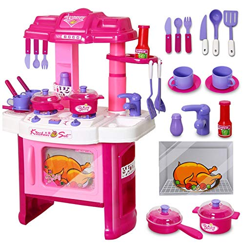 "Velocity Toys Deluxe Beauty Kitchen Appliance Cooking Play Set 24"" w/ Lights & Sound"
