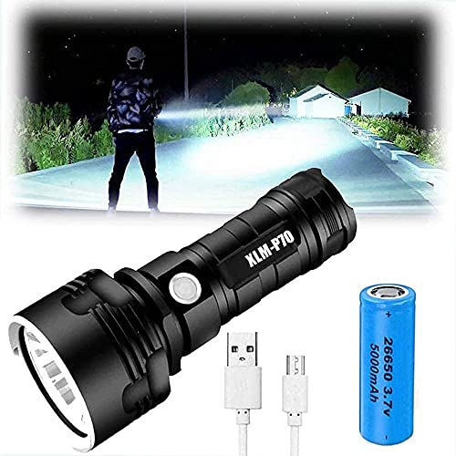Aluminum Alloy Flashlight - Super Bright High Lumen 30000-100000 for Camping, Outdoor, Emergency Flashing, Waterproof, Rechargeable Battery High Power, Handheld Strong Torch Flash Light (50W-XLM-P70)