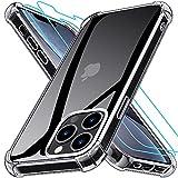 Grebuy Coque Compatible avec iPhone 13 Pro Max avec 2 Protecteur D'écran en Verre Trempé, Housse de Protection Antichoc Compatible avec iPhone 13 Pro Max 6.7 Pouces- Transparente