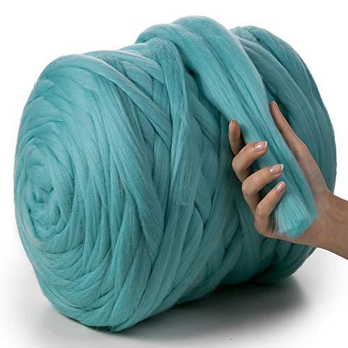 MeriWoolArt - Lana de merino 100 % para punto y ganchillo con hilo de 4-5 cm de grosor, lana de merino gruesa para bufanda, manta y cojín XXL, azul (ocean), 100 g