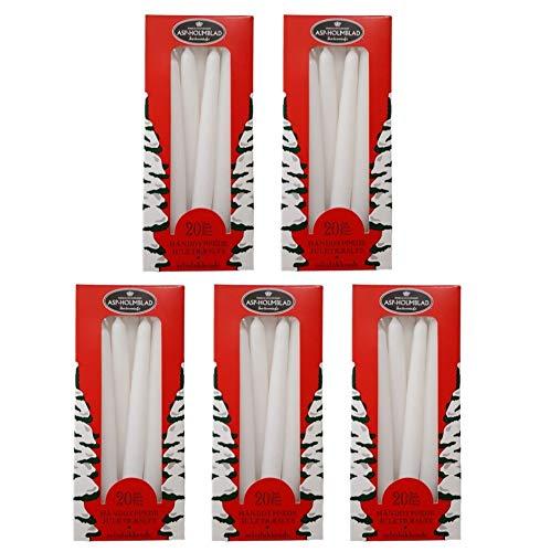 100 ASP Baumkerzen SELBSTLÖSCHEND, 12 x 1,2 cm, weiß, (5 x 20 Stück), Weihnachtskerzen. Sparpack