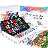 WOSTOO Set de Pinturas de Acuarela-50 Pzas Pintura de Acuarela Portatiles Set de Pinturas de Acuarela Sólida-36 Colores,2 Cepillos de Depósito de Agua, 2 Pincel de Nylon y 10 Papel