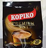Kopiko Instant Premium 3 in 1 Coffee with Non Dairy Creamer and Sugar 30 Count Per Bag