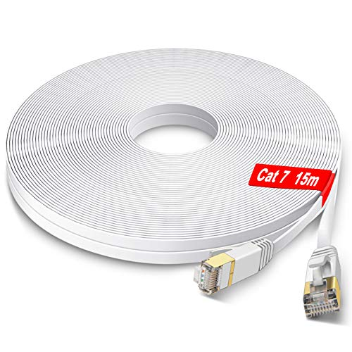 GLCON Cat7 Netzwerkkabel 15m High Speed Ethernet Kabel 600 MHz 10000 Mbit/s Flach LAN Kabel Kompatibel mit Switch/Router/Modem/Patch-Panel Weiß