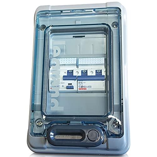 Legrand - Caja de fusibles con interruptor FI 30 mA + fusible automático 16 A 2 polos para caravana caravana 250 V