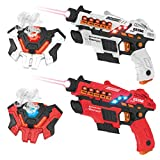 kolegend Laser Tag Gun Set with Spray Function, Upgraded Laser Tag Set of 4 Multi Function with Gun and Vest for Multi Player Boys & Girls Adults Family Home or Outdoor Game