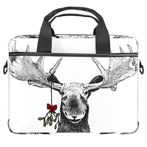 Sketch Smiling Moose Laptop Bag Messenger Bag Slim Briefcase with Crossbody Shoulder Bag Computer Bag Computer and Tablet Carrying Case for 13.4-14.5In