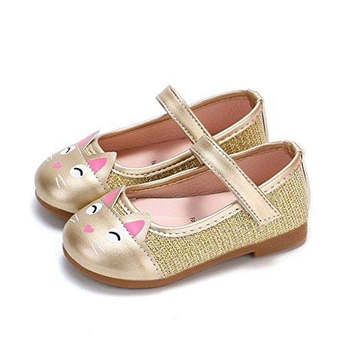 ✿ Harpily Zapatos Niñas Carnaval, Zapatillas Princesa NiñA Dibujo De Gato Sandalias De Vestido Flat Shoes Bailarinas Princesa Zapatos con Tacón para CumpleañOs Fiesta Cosplay Dorado 25