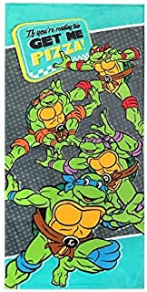 Nickelodeon Teenage Mutant Ninja Turtles Get Me Pizza Kids Bath/Pool/Beach Towel - Super Soft & Absorbent Fade Resistant Cotton Towel, Measures 28 inch x 58 inch (Official Nickelodeon Product)