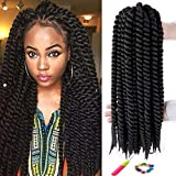 Havana Mambo Twist Crochet Hair Braids 6 Packs 18Inches Phoenixfly Kanekalon Senegalese Jumbo Twist Natural Black Crochet Hair Afro Braiding Synthetic Hair Extensions 12 Strands/Pack (#1B)