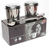 Dido´s Pack de 2 Infusores de Té en Acero Inoxidable Colador Filtro con Tapa y Asa para Tazas de Té Café Té a Granel Hojas Sueltas, con Bandejas de Goteo y Cuchara