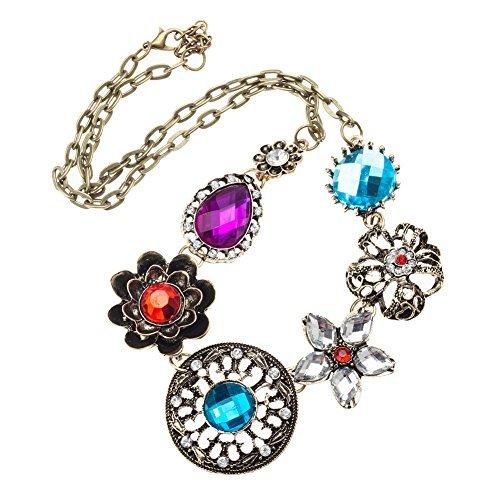 Flores forma mujer con flores de brillantes joyas gemas Collar Multicolour y bronce cadena durante VAGA