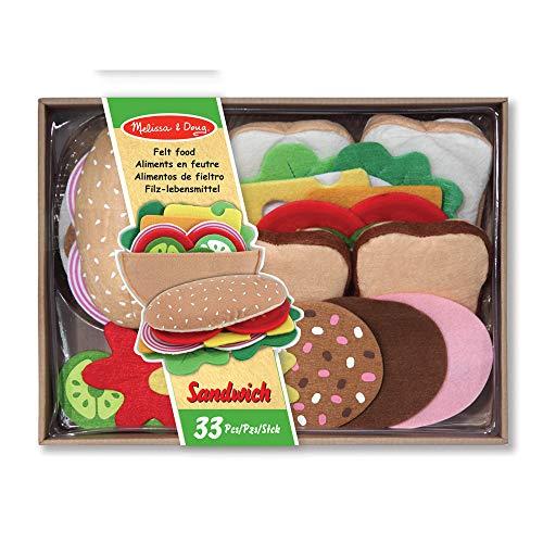 Melissa & Doug - Alimentos de Fieltro Juego para Sándwiches (13954), Multicolor, 33 piezas