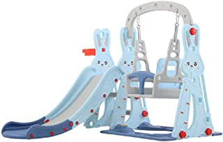 XIANGYU Indoor Play Rabbit Style Plastic Swing And Slide Set For Baby
