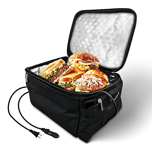 Portable Oven Heated Personal Food Warmer Lunch box(12V Car Druck and 110V Dual Use) For Prepared Meals Reheating & Raw Food Cooking at Work and Car