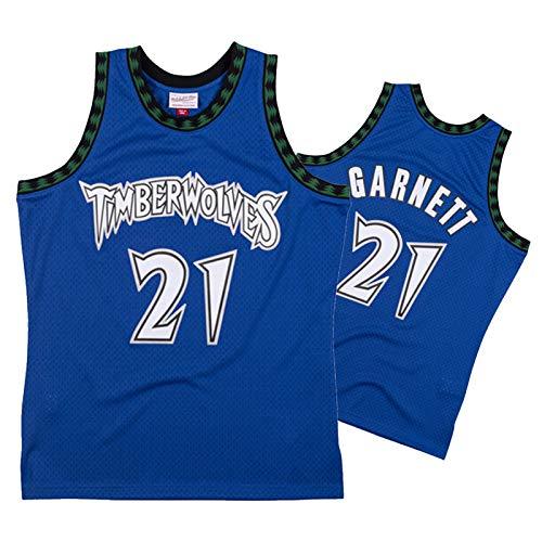 AKLP Männer Basketball Jersey, Retro Jersey Swingman Fans Version Timber Wǒlves 2003 Season Wolf König Gǎrnett Basketball-Trikot Blau S