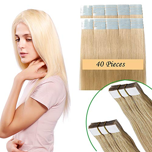 Tape in Extensions Echthaar Haarverlängerung Klebeband Haarteil 100% Remy Human Haar (40 stück+10pcs free tapes) Hellblond #613 18