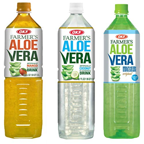 OKF Farmer's Aloe Vera Drink, Mango, Coco & Sugar Free, 50.7 Fluid Ounce (Pack of 12 each)