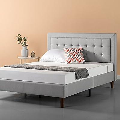 Zinus Upholstered Button Tufted Premium Platform Bed/Strong Wood Slat Support