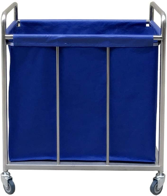 SH-CHEN Serving Cart Great interest Trolley On We OFFer at cheap prices Duty Blue Wheels Heavy