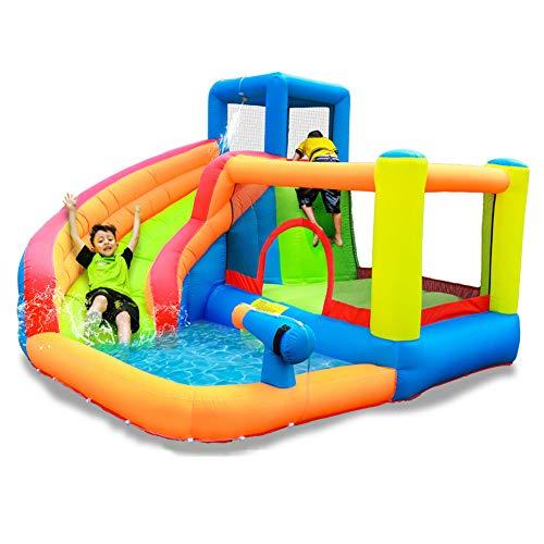 Namenlos - Bote hinchable con tobogán para casa o piscina, para hacer deslizar, actividades en el centro de castillo, hinchable con tobogán, muro de escalada, arma de fuego y agua para piscina