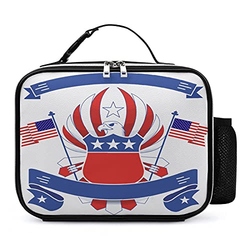 yepcolor Insulated Lunch Box for Kids - Durable & Reusable PU Leather Lunch Bag for Boys, Girls, Teens, School - 10.6 x 8.3 x 3.5 in (Eagle Logo American Flag)