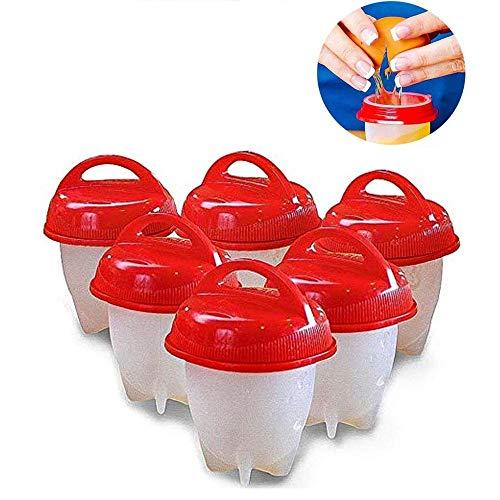 QYHSS Eierkocher Cups Premium Set, 6 rotes Silikonei, mit Halterung und Eiertrenner, Antihaft-Silikon, Eierbecher zum Kochen von Eiern (Rot)